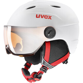 UVEX Junior Visor Pro Casco de bicicleta Niños, white-red mat